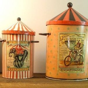 Other - Set of 2 Galvanized Circus Storage Tins  🎪